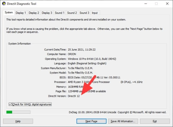 directx version - How to Check What DirectX Version You Have on Your PC 7