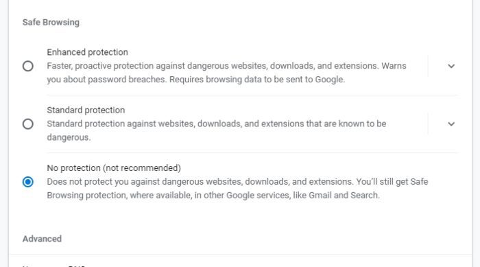 no protection 1 - How to Stop Chrome from Blocking Downloads 15