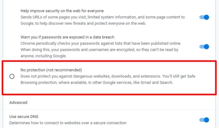 no protection - How to Stop Chrome from Blocking Downloads 11