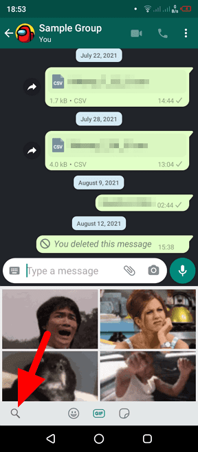 search gif - How to Send Animated GIF in WhatsApp Chat 9