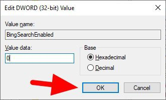 value data 0 - How to Disable Bing 'Search the Web' on Windows 10 Search 15