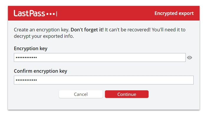 encryption key - How to Export Saved Passwords from Your LastPass Account 15