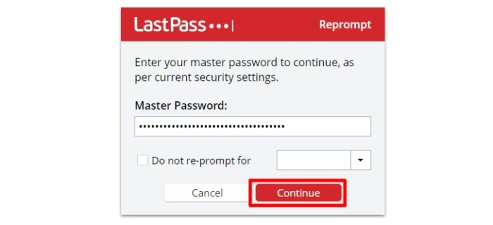 enter master password - How to Export Saved Passwords from Your LastPass Account 17