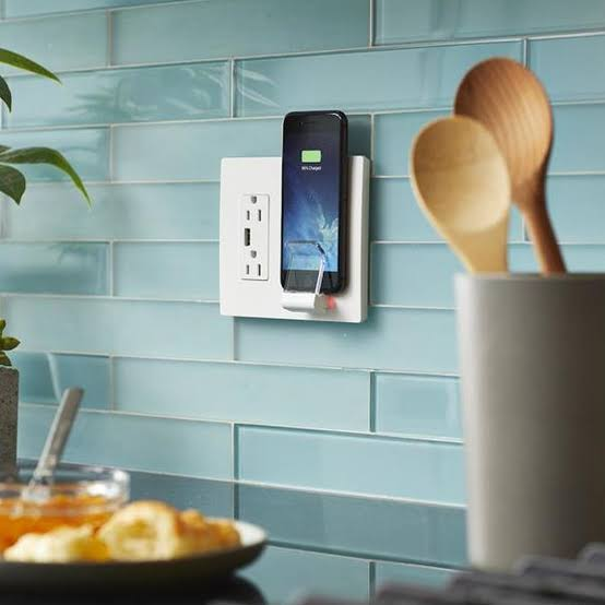 Charging Station Outlet with Vertical Wireless Charger