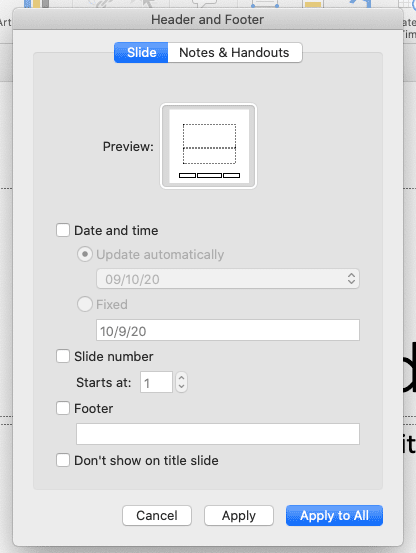 Pop up edit footer in powerpoint