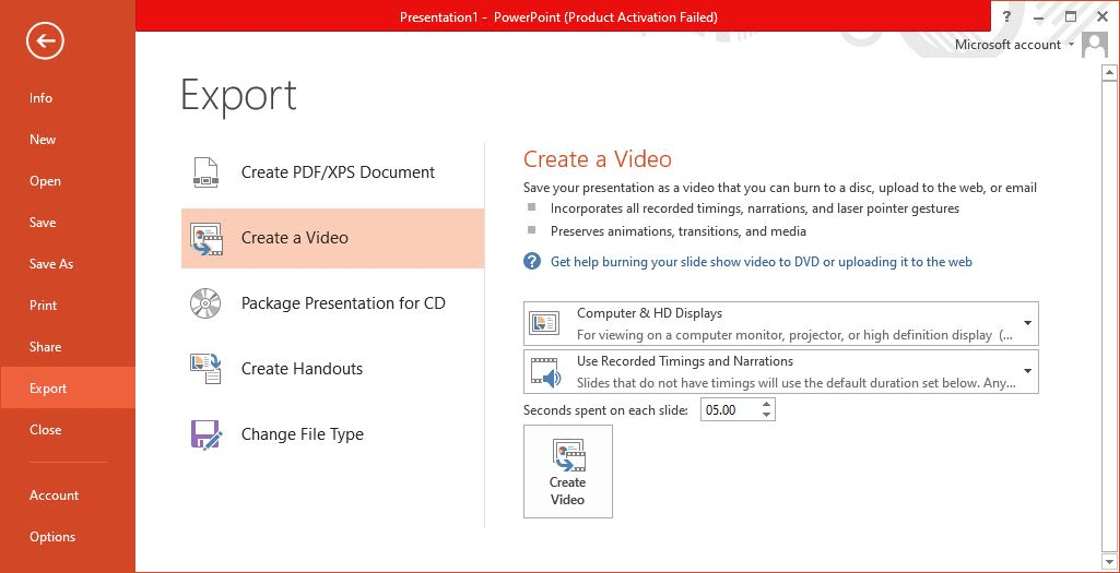 Export Powerpoint to Video Resolution