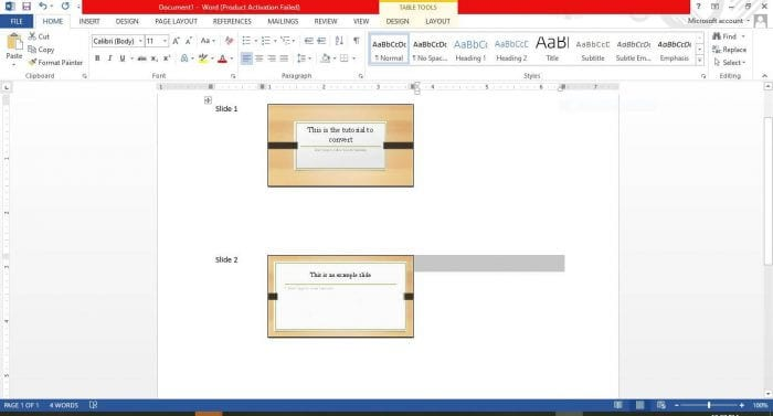 Result after Convert Powerpoint to Word